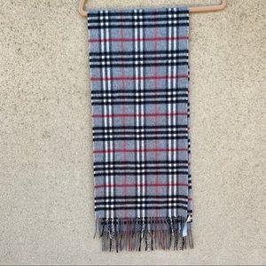 Burberry cashmere scarf check tartan grey